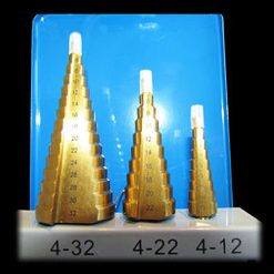 M2 Step Drill Bit Set, 3 Piece Metal Set - Metric (4mm - 32mm)