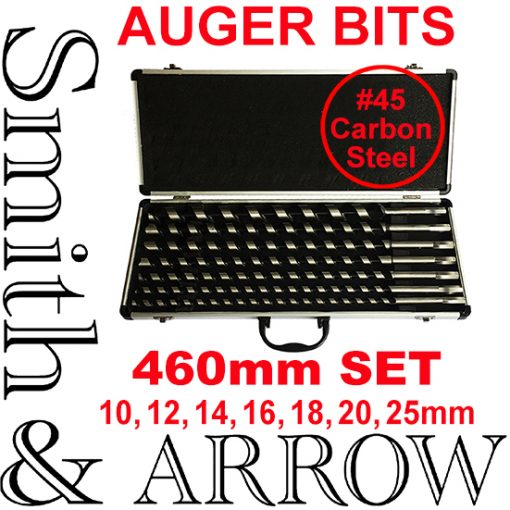 Auger Drill Set for Wood Boring 460mm Long with Hex Shank | 7 Piece
